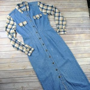 Vintage Denim and Flannel Maxi Duster Dress